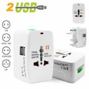 Universal Worldwide Travel Adapter AC power with 2 USB
